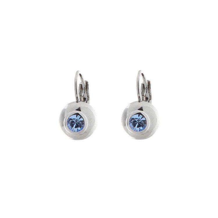 Biba oorbellen steen licht-blauw in zilverkleurige bol