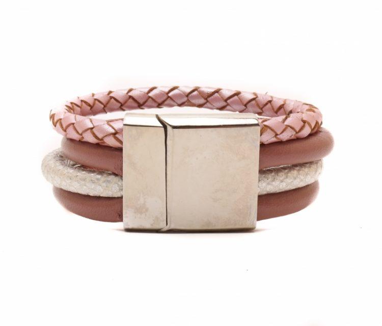 Handgemaakte leren armband 4 banden metalic combi