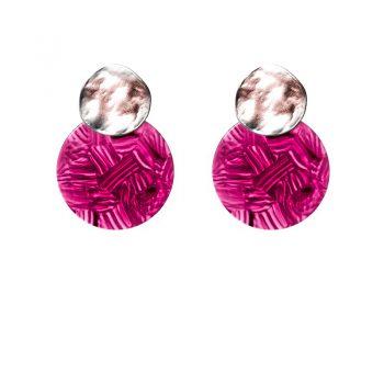 Biba oorbellen rond roze-paars- zilverkleurig
