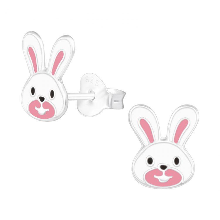 Kinderoorbellen zilveren konijn