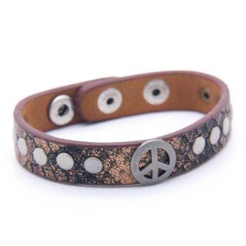 Armband leder bruin/brons met vredes teken