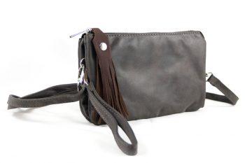 Clutch-tas in donker taupe met sierkwast