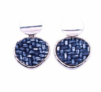 Viva classic oorbellen gevlochten-driehoek hanger blauw