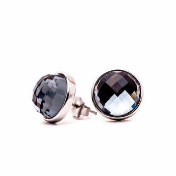Viva luxury oorsteker black diamond met ronde facet geslepen steen