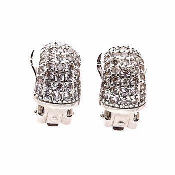 Viva classic oorclips zilverkleurig met kleine steentjes-crystal