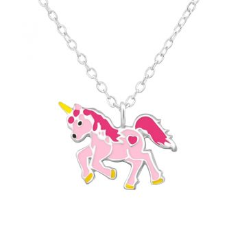 Eenhoorn kinderketting zilver roze-geel