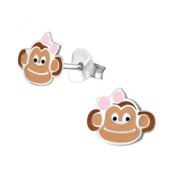 Kinderoorbellen zilver bruin apenkopje met roze strik