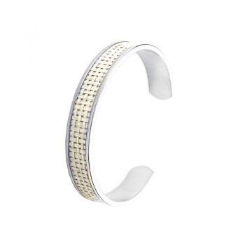 Viva Jewellery sijtlvolle zilverkleurige armband gevlochten creme
