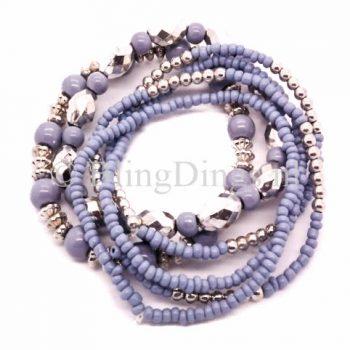 Armbanden kralen mix blauw- zilverkleurig