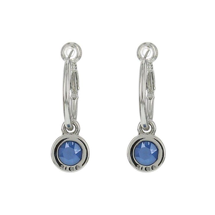 Biba creolen steen-blauw 20 mm met zilver kleurige oorring