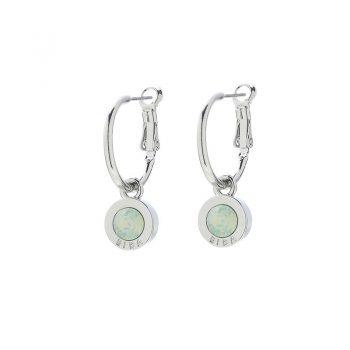 Biba creolen met steen-licht groen opal