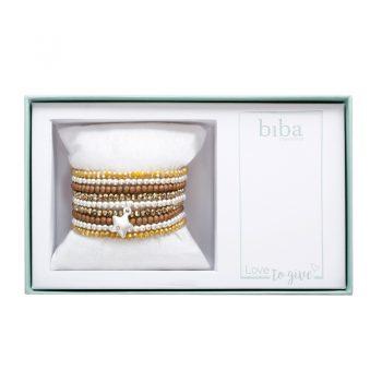 Biba giftbox kralen armbanden bruin - zilver- camel