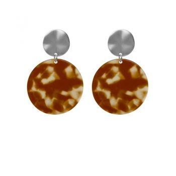 Biba leopard oorbellen rond bruin