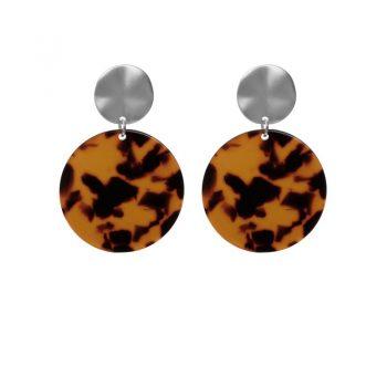 Biba leopard oorbellen rond bruin zwar