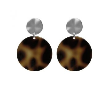 Biba leopard oorbellen rond zwart bruin tinten