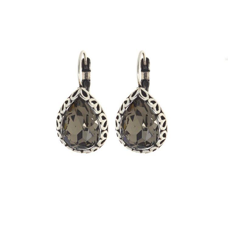 Biba oorbellen druppel black-diamond bewerkt rand
