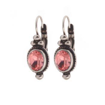 Biba oorbellen antieklook vintage-roze steen