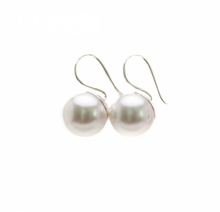 Biba oorhangers parel sterling zilver 12 mm