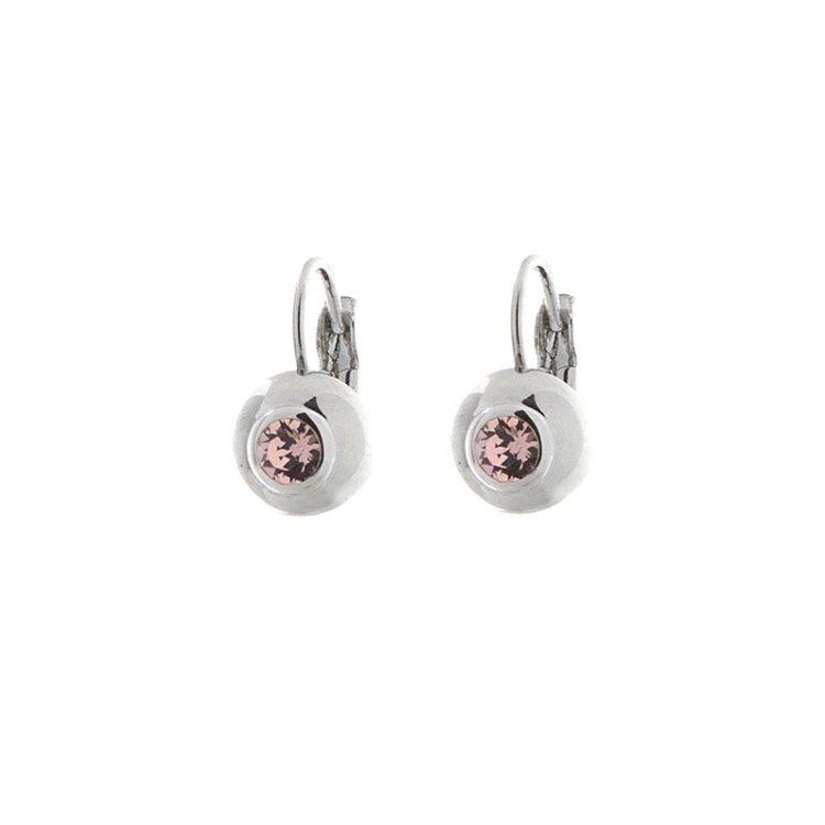 Biba oorbellen steen vintage-roze in zilverkleurige bol