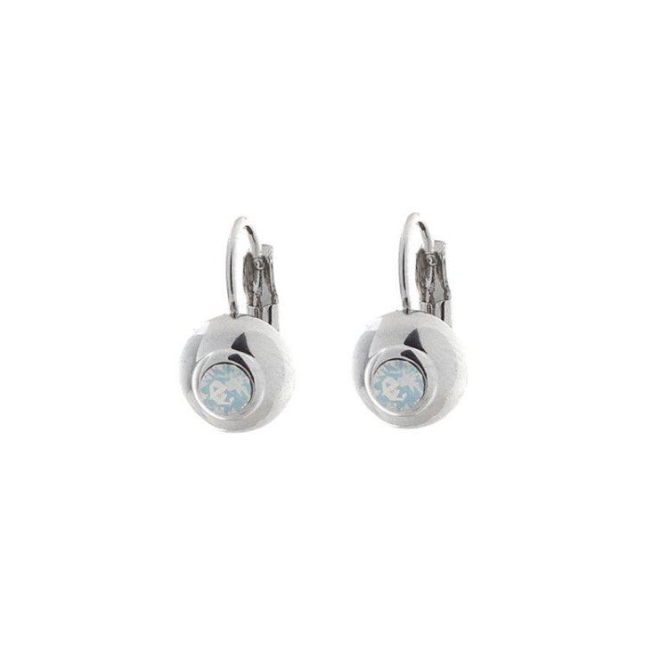 Biba oorbellen witte steen in zilverkleurige ronde bol