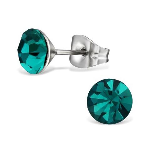RVS oorbellen-zilverkleurig blauw groen