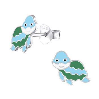 Kinderoorbellen schildpad lichtblauw-groen   echt zilver