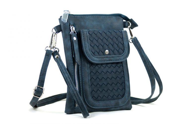 Heuptasje - schoudertasje gevlochten voorvak- blauw