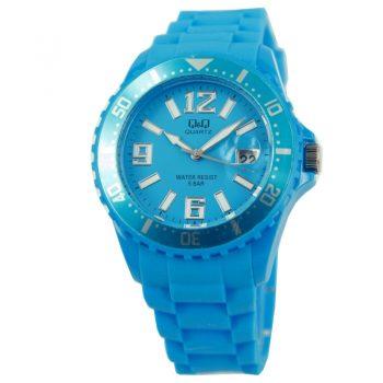 Q&Q quartz sportief blauw unisex horloge siliconen band