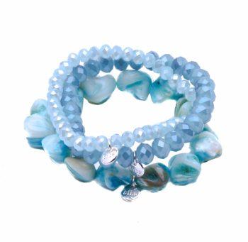 Blauwe tinten Biba armbandjes - verschillende vormen kralen 3 stuks