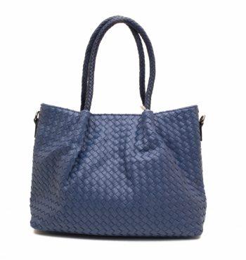 Blauwe gevlochten handtas met binnentas