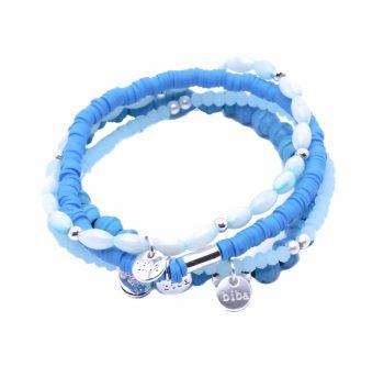 Blauwe kralen armbandjes Biba - 4 stuks