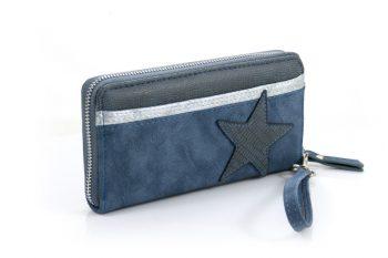 Portemonnee met ster blauw en zilverkleurige sierrand