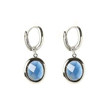 Viva fashion creolen blauw doorschijnende steen in ovale hanger