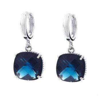 Viva fashion oorringen blauw-vierkant steentje