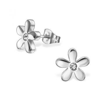 RVS oorbellen bloemetje zilverkleurig met kristallen steentje