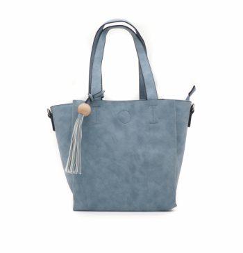 Handtas in blauw met sierkwast met houten kraal