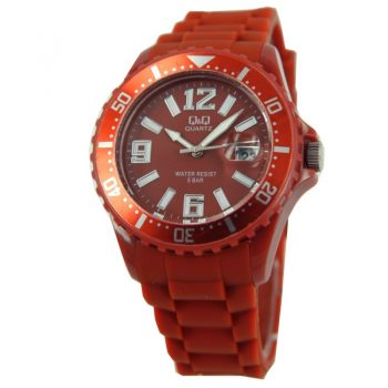 Q&Q quartz sportief rood unisex horloge  siliconen band