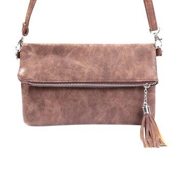 Bruine clutch schoudertasje met sierkwast