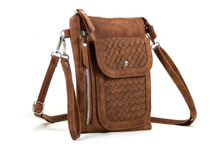 Heuptasje - schoudertasje gevlochten voorvak- camel