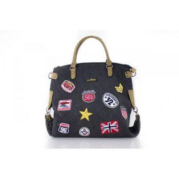 Canvas tas met patches- zwart-