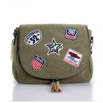 Canvas tas met patches khaki