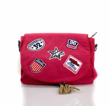 Canvas tas met patches-rood