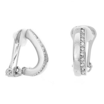 Viva oorclips rijtje steentjes-crystal zilverkleurig