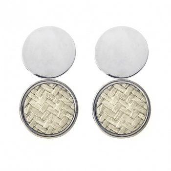 Viva classic oorhangers gevlochten creme glanzende zilverkleur