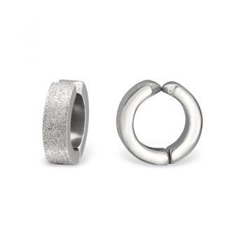 RVS oorbellen-klapcreolen mat smal zilverkleurig