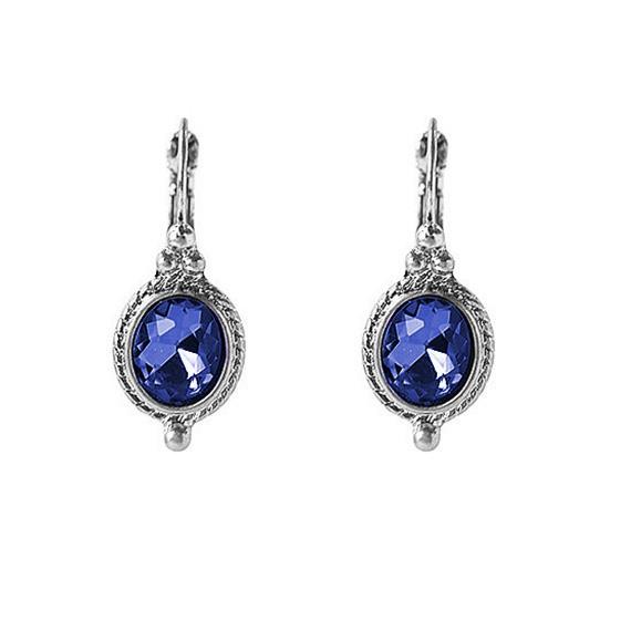 Viva classic oorbellen donker-blauwe steen zilverkleurig