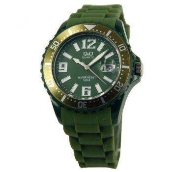 Q &Q quartz sportief donker groen unisex horloge| siliconen band
