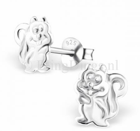 Oorbellen zilver eekhoorn | door en door zilver 925