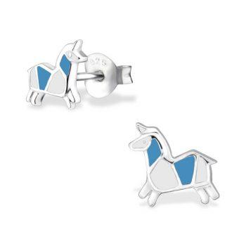Zilveren kinderoorbellen eenhoorn origami stijl