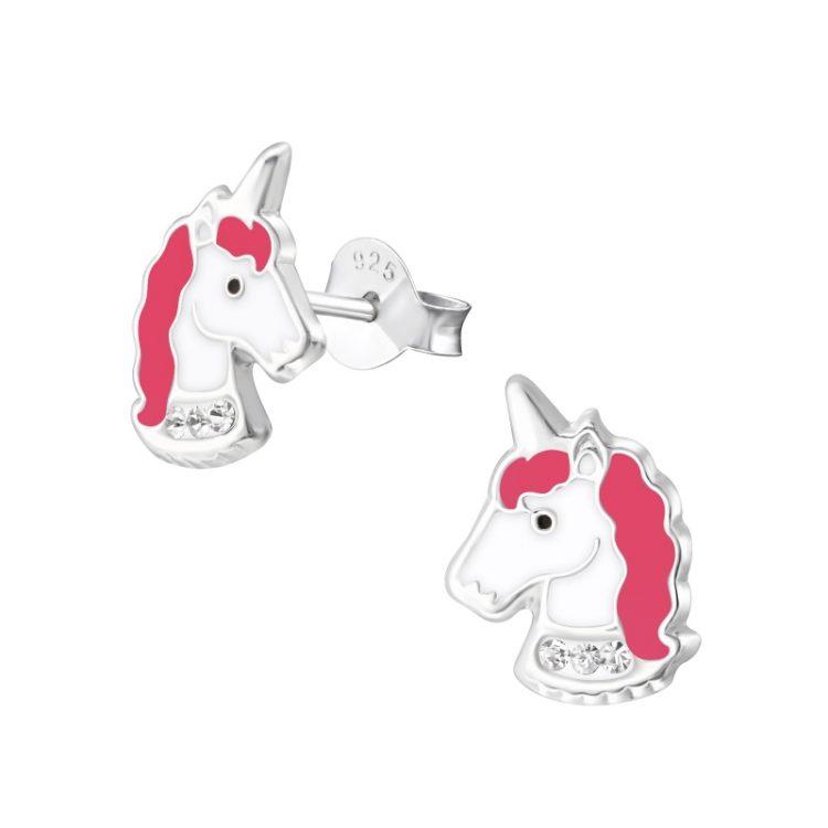 Eenhoorn kinderoorbellen in roze -wit met steentjes